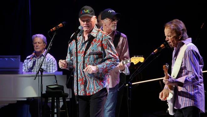 Brian Wilson, from left, Mike Love, David Marks and Al Jardine perform together during a Beach Boys concert on May 8, 2012, at the Beacon Theater in New York.