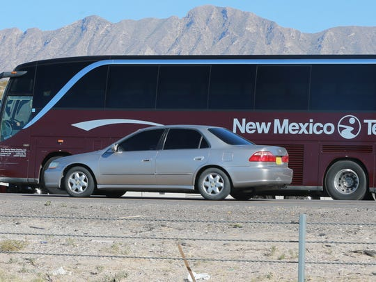 A bus which was involved in an accident on I-10 West