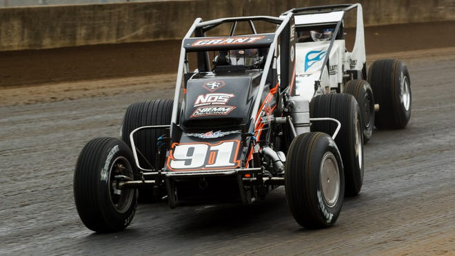 Justin Grant slides into turn 1 during the USAC Silver Crown Champ Car Series Bettenhausen 100 at the Springfield Mile at the Illinois State Fairgrounds Sunday, Oct. 18, 2020. Grant finished third to claim his first USAC National Championship with the Silver Crown Champ Car series.