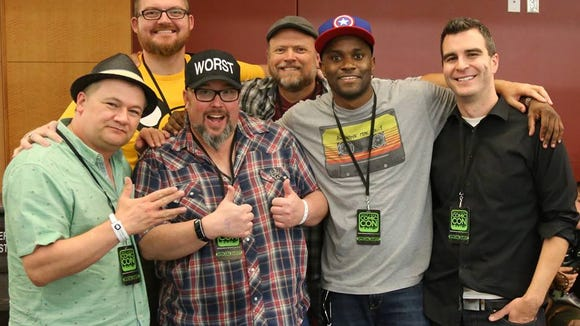 Kerry Jackson, from left, Tony Eccles, Shannon Barnson, Leigh George Kade, Jay Whittaker and Jimmy Martin pose for a photo as Salt Lake Comic Con in 2015.