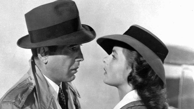 "Humphrey Bogart and Ingrid Bergman in a scene from the classic 1943 film ""Casablanca."""