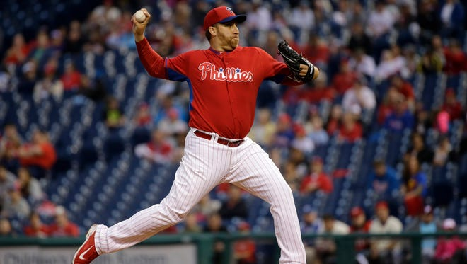 Phillies pitcher Aaron Harang gave up nine hits and four runs and walked three batters in 42/3 innings Friday.