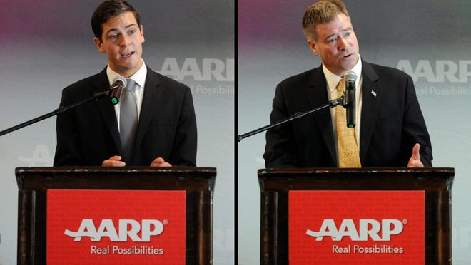Candidates for the 19th Congressional District Sean Eldridge, D-Shokan, left, and Chris Gibson, R-Kinderhook, spoke at the AARP candidate forum on Tuesday in Rhinebeck.