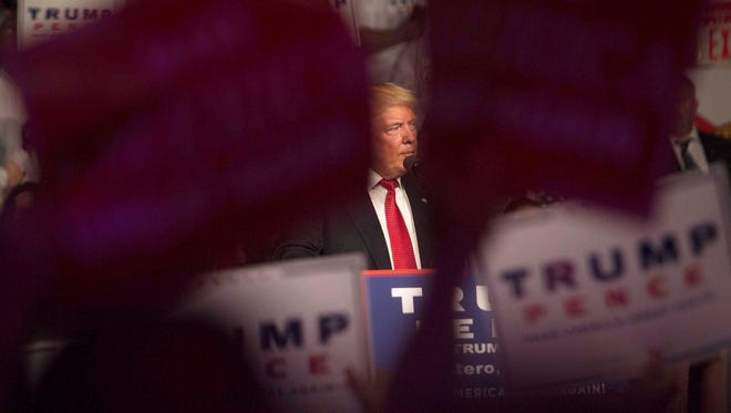 Donald Trump speaks during rally at Germain Arena Monday, September 19, 2016,