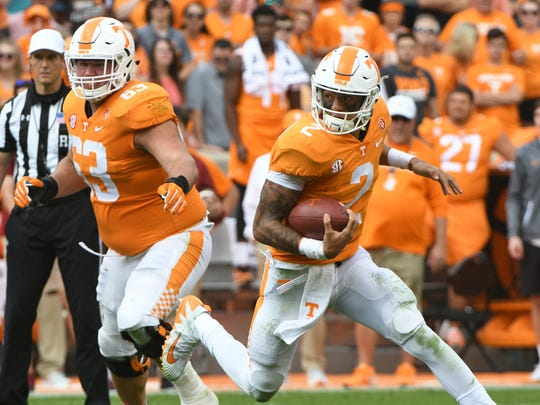 Tennessee quarterback Jarrett Guarantano (2) runs with the ball during the first half of a Tennessee vs. South Carolina game at Neyland Stadium in Knoxville, Tenn. Saturday, Oct. 14, 2017.
