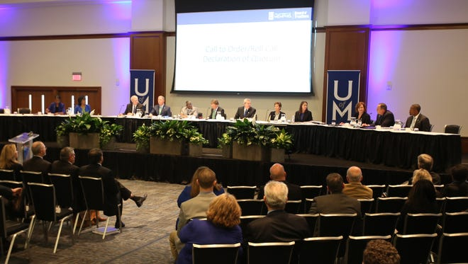 The first-ever University of Memphis board meeting was held March 17 in the University Center Ballroom.