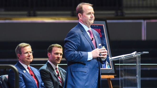 Kermit Davis' 16-season tenure with Middle Tennessee State came to an end Sunday and he was introduced as Ole Miss' coach Monday evening.