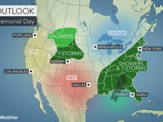 Memorial Day weather forecast