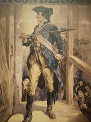 A drawing of Ethan Allen from the Vermont Historical Society Museum shows him taking Fort Ticonderoga in 1775.
