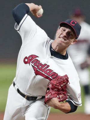 Valley Central graduate James Karinchak is primed to make an impact out of the Indians' bullpen when baseball returns to action. The reliever's fastball and curveball have proven difficult to hit at the big league and minor league levels. TONY DEJAK/AP
