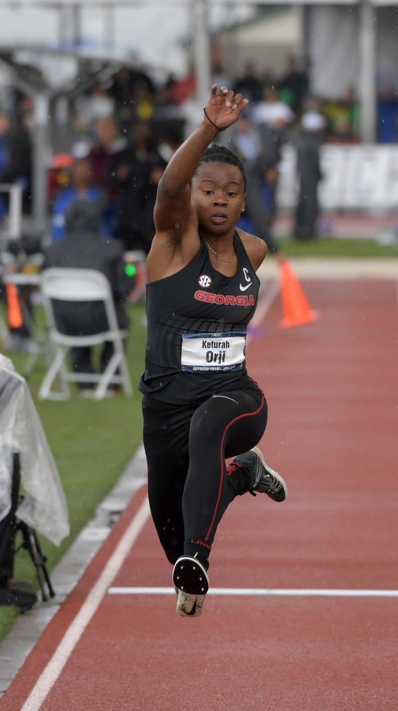 Keturah Orji of Georgia wins the triple jump at 46-0