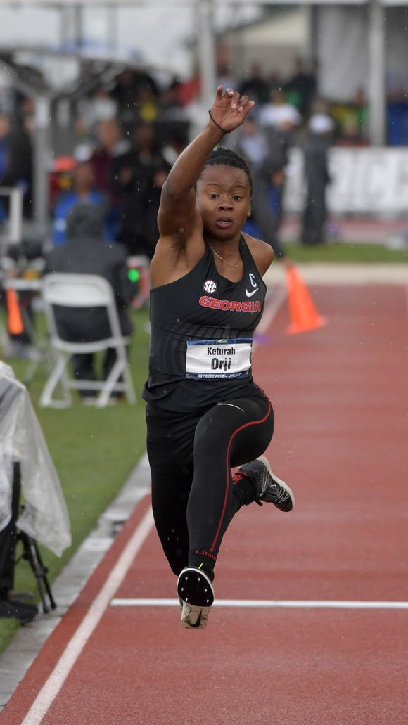 Keturah Orji of Georgia wins the triple jump at 46-0 3/4 (14.04m). It's her fourth consecutive NCAA outdoor triple jump title. She also won the long jump.
