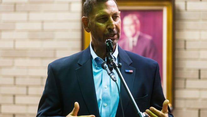 Representative Frank LoBiondo speaks during Vineland's Columbus Day ceremony at Vineland City Hall on Monday, October 9.