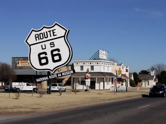The Route 66 Museum dwarfs the landscape in Elk City, Okla., in 2006.