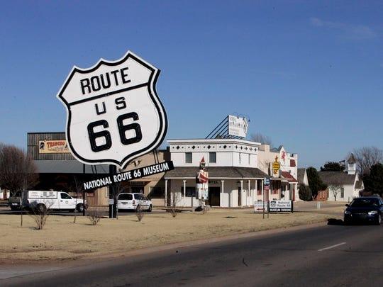 The Route 66 Museum dwarfs the landscape in Elk City, Okla., in 2006.