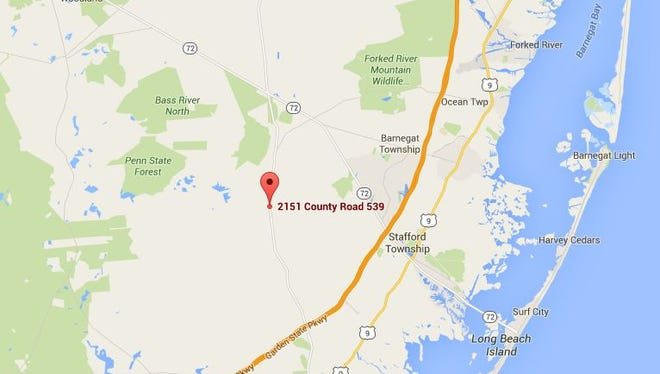 One person was airlifted to a regional trauma center following a head-on crash on Route 539 in Little Egg Harbor Township on Saturday night. The red pin marks the approximate location of the accident.