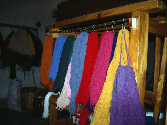 Wool freshly dyed with blue indigo, red cochineal and