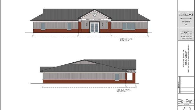 An artist's rendering of the new Bethel Township building pictured on Friday, April 8, 2016.
