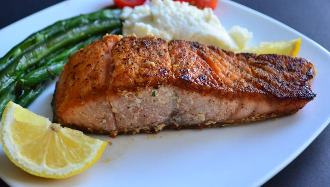This seared salmon is a wonderful, quick weeknight dinner. The key is to buy fresh, good quality salmon.