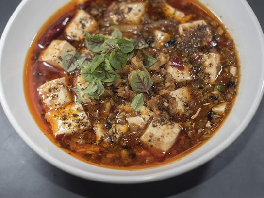 Mapo tofu, a vegan and vegetarian dish, includes shiitake