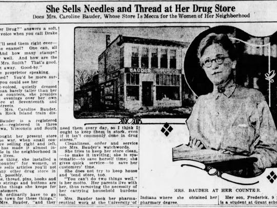 A clipping from a 1920 article about Bauder's Drug.