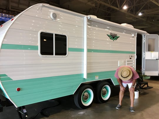 Trailer with retro look grabs attention at the 2017 Fort Myers RV Show.