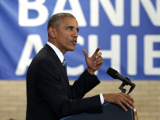 President Obama Speaks At Benjamin Banneker Academic High School In Washington, D.C.