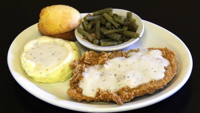 Here's a dish when you crave fried food: Junction Cafe's chicken fried chicken with green beans, mashed potatoes and honey-sweet cornbread.