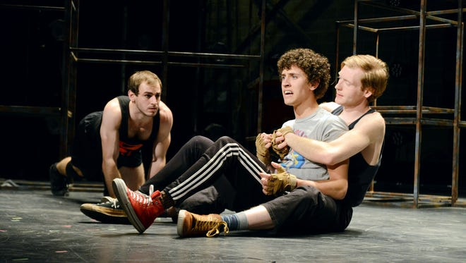 Ike Wellhausen, Lincoln Moody and Sean Haynes perform in Ball State?s adaptation of ?The Jungalbook,? opening in University Theatre Feb. 12.