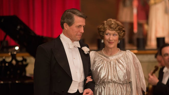 "This image released by Paramount Pictures shows  Hugh Grant as St Clair Bayfield, left, and Meryl Streep as Florence Foster Jenkins in, ""Florence Foster Jenkins."""