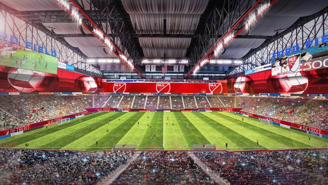 A rendering of Ford Field as a home to an MLS franchise.
