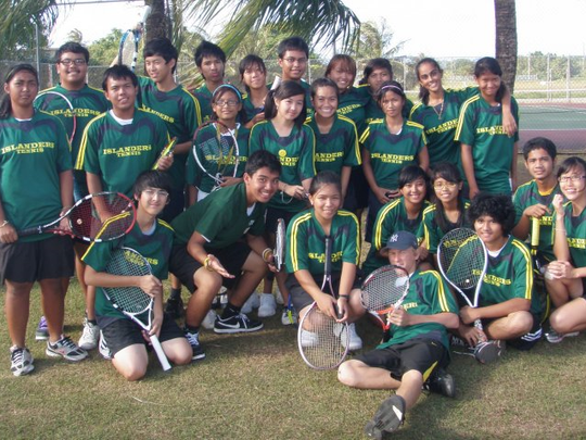 In this photo is Robert Mendi with the JFK High School tennis team.
