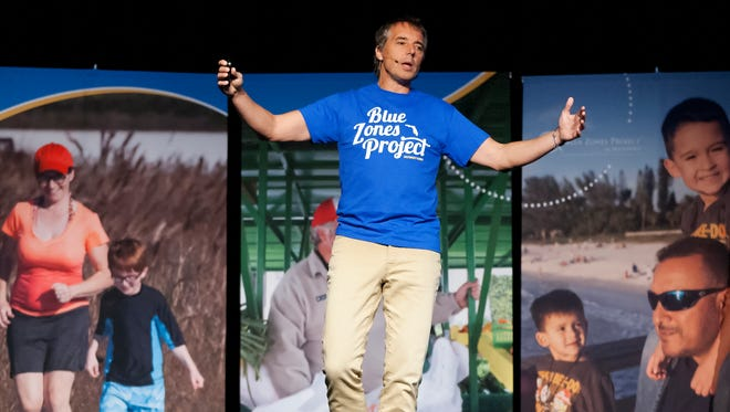 "Dan Buettner, author of ""Blue Zones"", was the keynote speaker recently at the Blue Zone Project-Southwest Florida event at North Collier Regional Park in Naples in 2015. Traits of people in Blue Zones are movement, eating more fruits and vegetables and a sense of purpose."