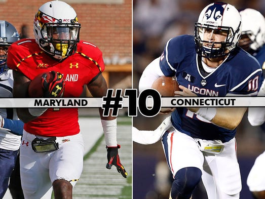 Maryland (2-0) at UConn (0-1), 7:30 p.m. ET, ESPN3: Randy Edsall returns to Storrs with the Terps flying high, having scored 90 points through the first two games. Meanwhile, the Huskies lost to FCS Towson in their season opener.