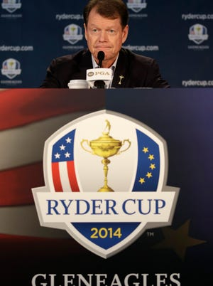 United States Ryder Cup captain Tom Watson speaks at a news conference at Valhalla Golf Club Monday, Aug. 11, 2014, in Louisville, Ky.