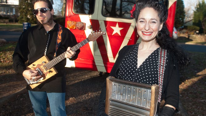 April Mae Iorio and Dave 'Catfish' Fecca are the husband-and-wife team behind American roots band April Mae & The June Bugs. The duo revamped a retired school bus into their tour bus.