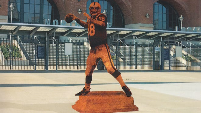Illustration of a statue of former Colts quarterback Peyton Manning, which will be unveiled Oct. 7, 2017. and be located on the north plaza outside Lucas Oil Stadium in Downtown Indianapolis.
