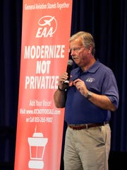 Experimental Aircraft Association Chairman and CEO Jack Pelton talks Monday, July 24, 2017, to those gathered at Theater in the Woods on the EAA AirVenture grounds in Oshkosh about a plan to privatize the U.S. air traffic control system.