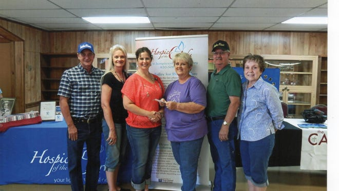 The sponsors and patrons of Southern Classic Charity Horse Show held July 21-23 at Bar None Cowboy Church Arena in Midway donated $1,000 to Hospice House of the Ozarks. Hospice House of the Ozarks is located in Mountain Home. Presenting the check to Angelia Broome, outreach and development coordinator at Hospice House, were SCHSA Board of Directors. Shown are Gary Cornett, NW representative, from left, Debbie Cornett, secretary, Broome, Beverly Frizzell, president; Terry Frizzell, treasurer; and Karyn Vaughn, vice president.