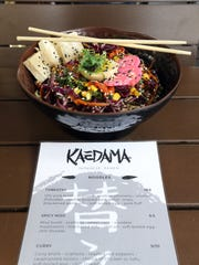 The tossed cold ramen from Kaedama. The restaurant