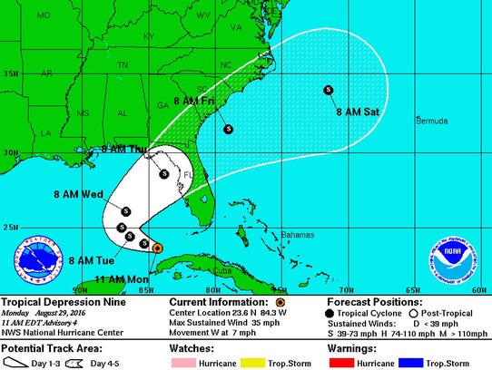 NOAA projection of the path of Tropical Depression