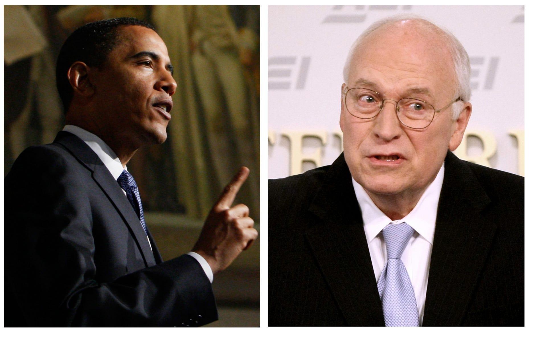 Dick cheyney and barak obama