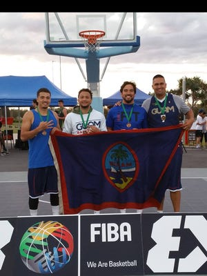Team Guam members are, from left, Willie Stinnett, Joe Blas, Seve Susuico and Mikeli Wesley. The team won bronze at the FIBA 3X3 Oceania Championships in Australia in September 2015.