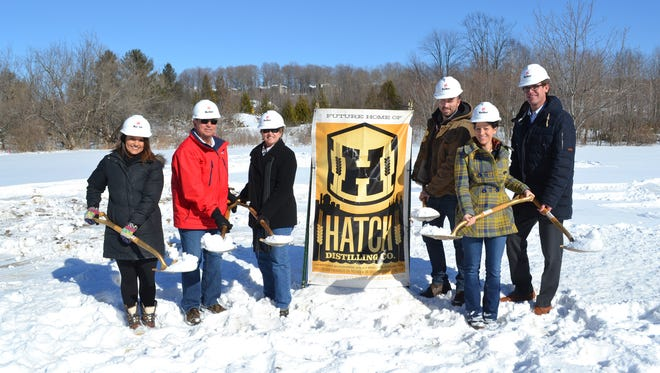Participants at Hatch Distilling Company groundbreaking were, from left to right, Megan Vandermause, Egg Harbor deputy administrator; Russ Roedl, owner; Linda Roedl; Chris Roedl, owner; Emily Roedl and Ryan Heise, Egg Harbor administrator.
