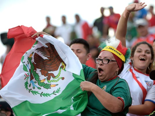 A fan waves a Mexican flag in the stands during the first half of a friendly soccer match against Costa Rica in Orlando, Fla., Saturday, June 27, 2015. (AP Photo/Phelan M. Ebenhack)