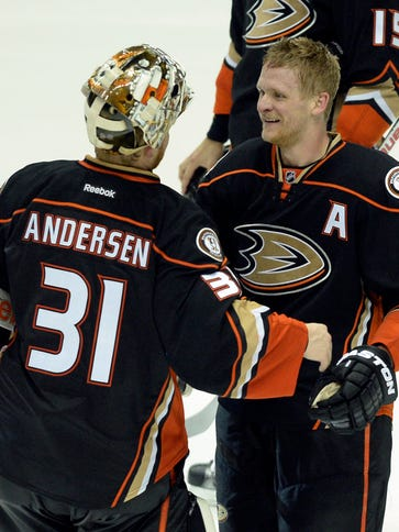 Right wing Corey Perry and goalie Frederik Andersen