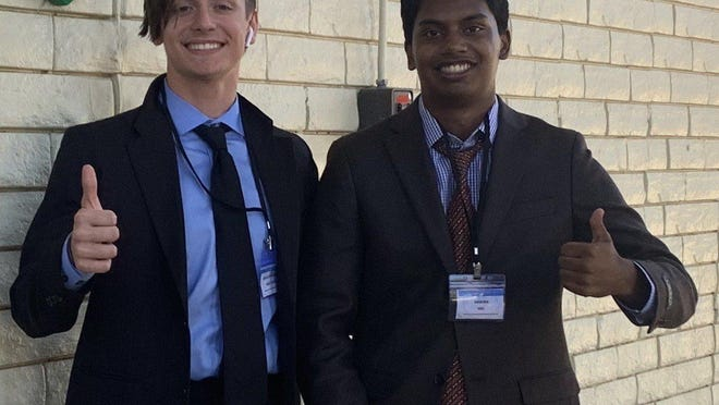 From left, Zach Moser, 16, and Mainur Khan, 17, are co-founders of the Austin Teen Coalition. The two started the group after noticing that many of their fellow Round Rock High School classmates were either sharing misinformation about current events or were apathetic about them altogether.