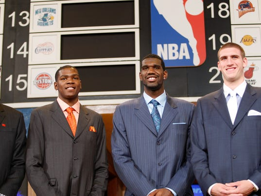 Left to Right - Kevin Durant, Greg Oden and Spencer Hawes at the NBA ...: www.courier-journal.com/story/sports/nba/2016/11/14/warriors-kevin...