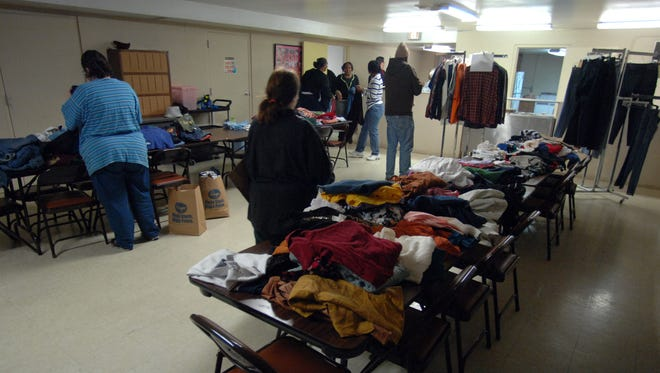 The clothes pantry in the basement of Mt. Moriah  Missionary Baptist Church in Richmond.