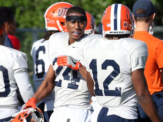 UTEP defensive back Kahani Smith, 24, rests following